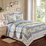 S Hotel Collection Luxury 3-Piece Fine Printed Cotton Oversized Quilt Set Reversible Bedspread Coverlet Cover Set