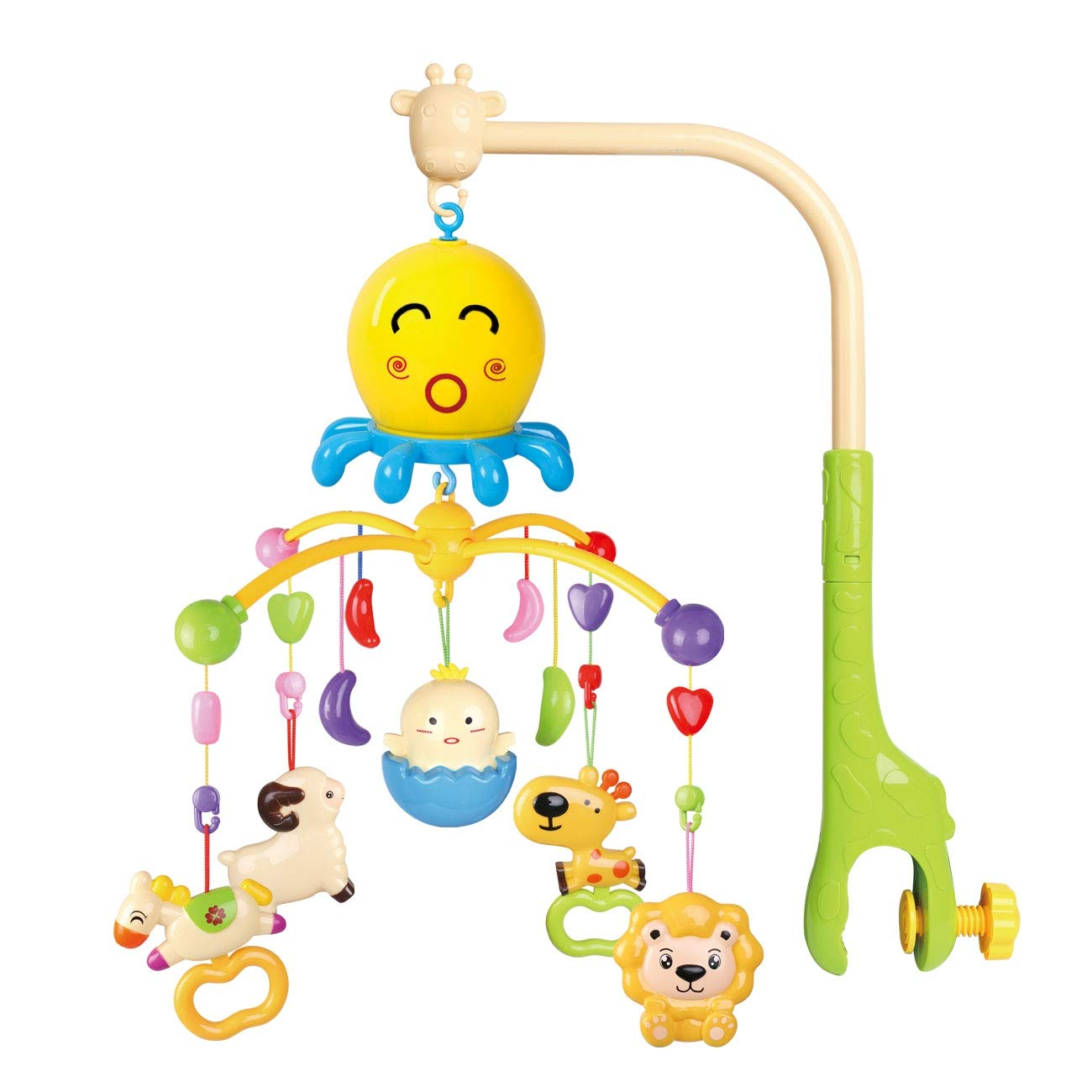 WishaLife Dreamful Bed Ring, Musical Crib Musical Mobile Bed Bell, Baby Bed Bell Rattle Rotate Bracket Toy for Baby (Green)