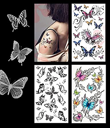 Amazoncom 3 Pack Sexy Butterfly Tattoo Lower Back Shoulder Neck
