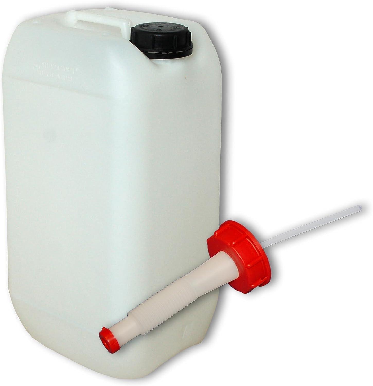 Uso alimentario Wilai GmbH Bid/ón de Polietileno//Jerrycan 15 L Natural 22096+22020 1 Boquilla Flexible DIN61
