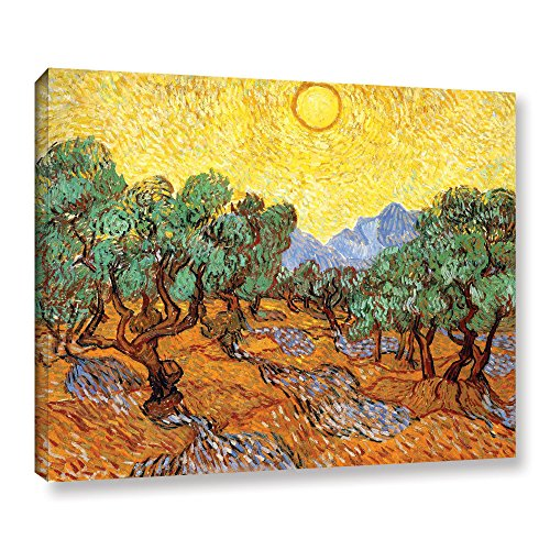 ArtWall Vincent Vangogh's Olive Trees with Yellow Skies and Sun, Gallery Wrapped Canvas, 36 by 48-Inch from ArtWall