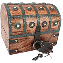 WellPackBox Wooden Pirate Treasure Chest Box With Full Size Antique Style Lock And Skeleton Key