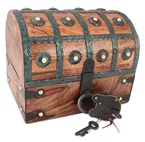 WellPackBox Wooden Pirate Treasure Chest Box With Full Size Antique Style Lock And Skeleton Key (Antique Treasure Chests)