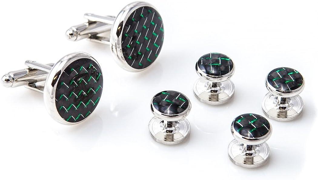 MRCUFF Carbon Fiber Green /& Black Tuxedo Cufflinks /& Studs Set in Presentation Gift Box /& Polishing Cloth