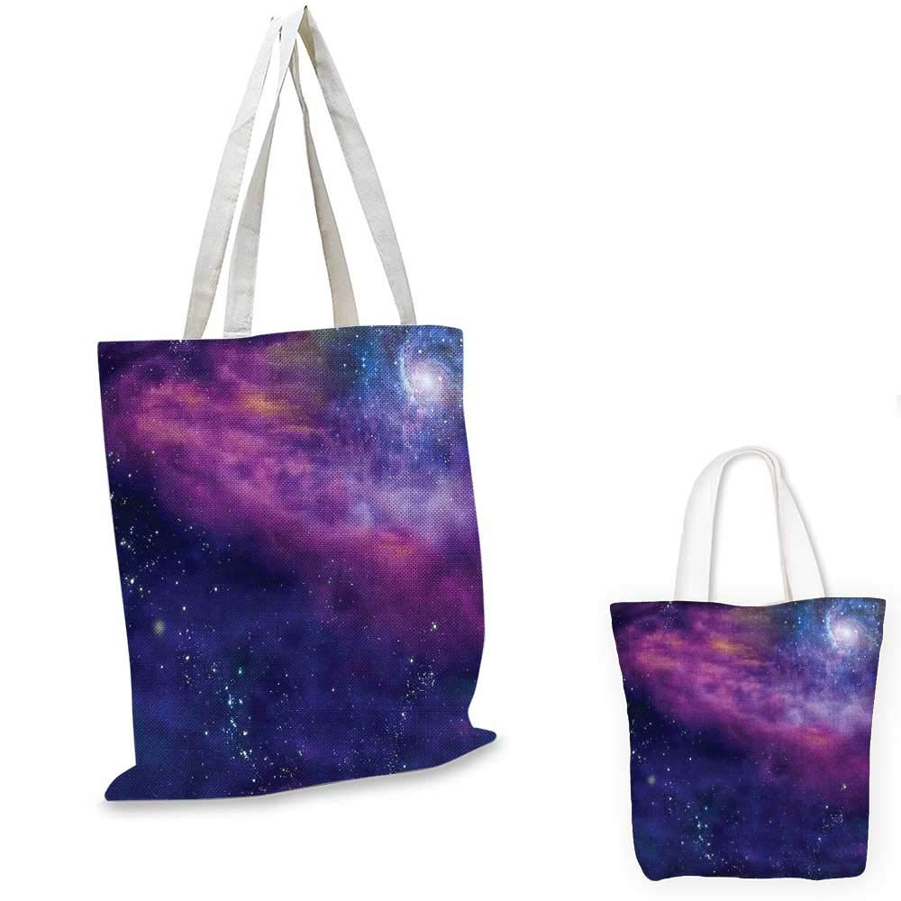 Outer Space canvas messenger bag Spiritual Dim Star Clusters Milky Way Inspired Circle Back with Solar Elements shopping bag for women Purple Blue 12x15-10