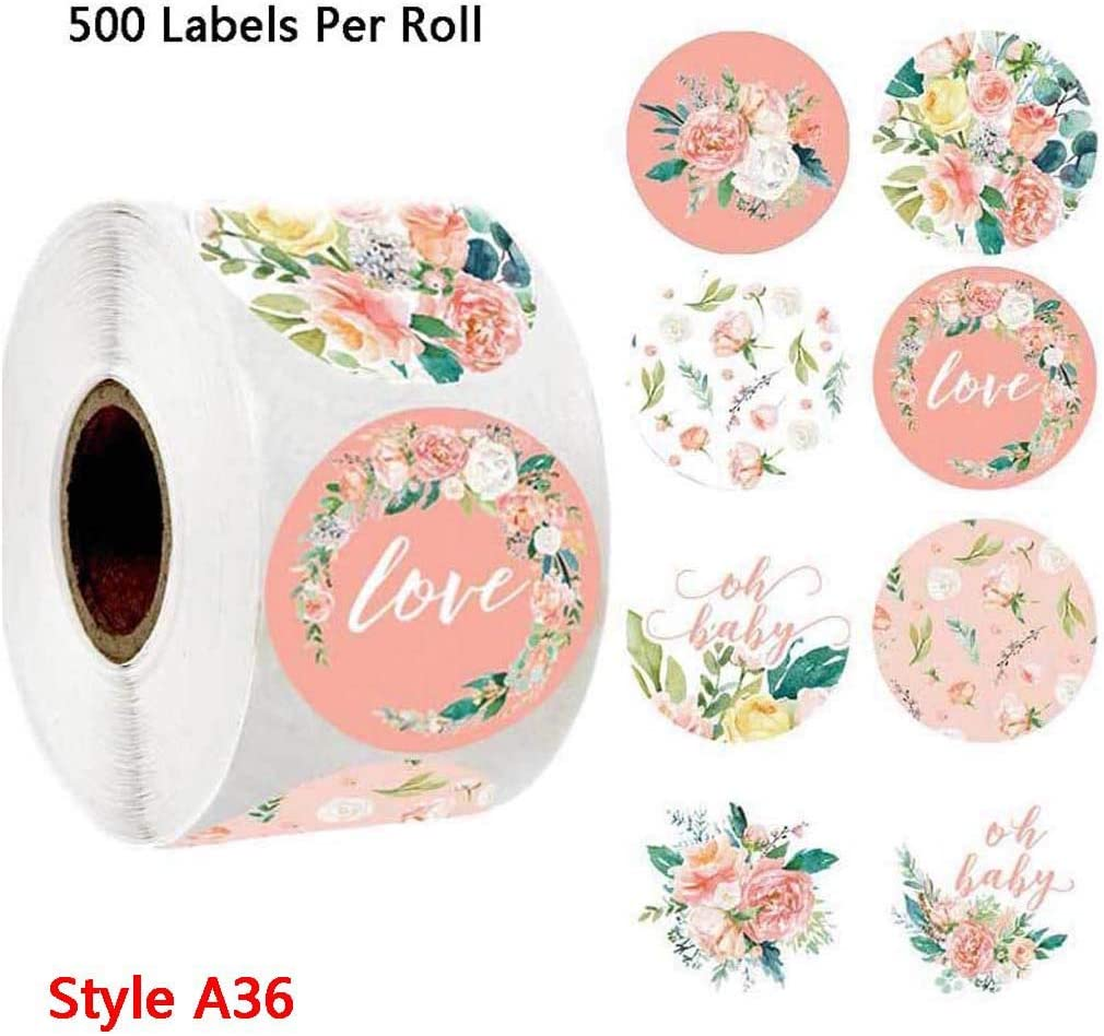 500Pcs//Roll Thank You Labels Wedding Floral Thank You Stickers Seal Labels