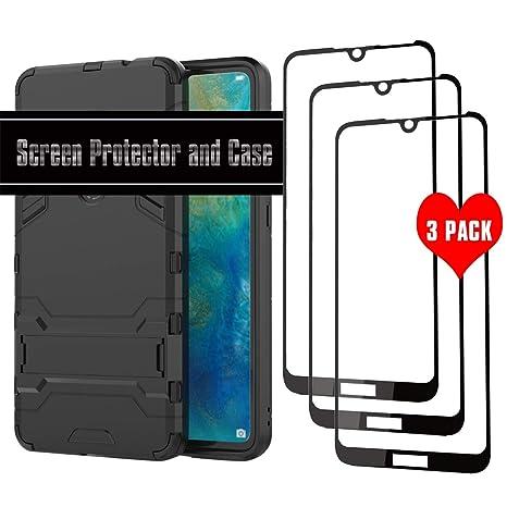 DAYNEW Huawei Y7 Pro (2019) Protector de Pantalla y Funda,Alta Definicion Cristal