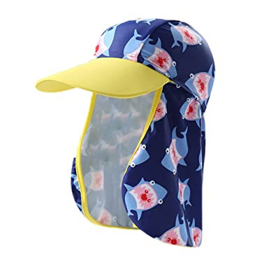 ed76e7474c149 Kids Swimming Cap Summer Sun Hat - Boys Girls Flap Cap Beach Hat Baby UV Sun  Protection Sports Hat Visor Cap Travel Outdoor  Amazon.co.uk  Clothing