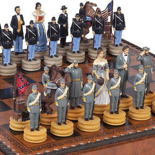 Hand Painted American Civil War Chessmen & Marcello Chess Board from Italy ()