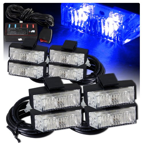 (Low Profile LED Grille Clip on Mounting Emergency Strobe Lights - Blue)