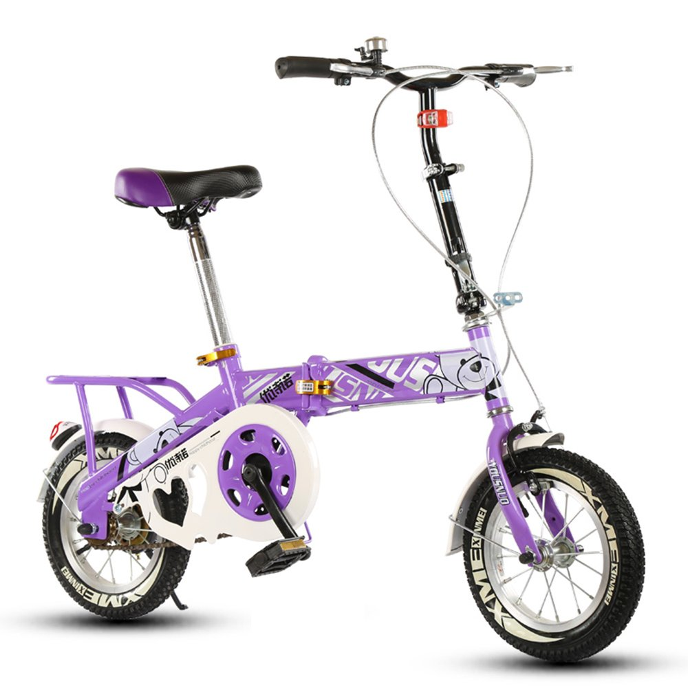 子供の折りたたみ自転車、12-14-16-20インチの男子学生自転車6-8-10-12歳の乳母車 ( 色 : Purple-A , サイズ さいず : 14 inch ) B07CNSM42K 14 inch|Purple-A Purple-A 14 inch