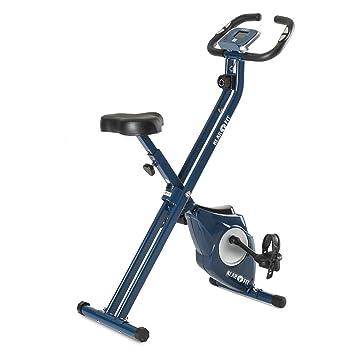 KLAR FIT Klarfit Azura Bicicleta estática Plegable (pulsómetro, Masa oscilante 3kg, 8 Niveles Entrenamiento, Monitor Actividad fisica) - Azul: Amazon.es: ...