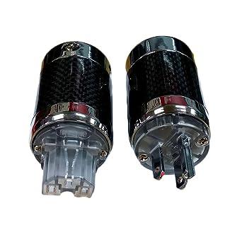 1Pair//2pcs Carbon Fiber Rhodium-Plated US AC Power Plug IEC Connector for DIY Power Cable Amplifier HiFi Audio