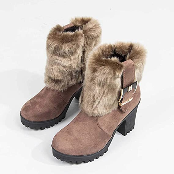 YiYLunneo Zapatos Botas De Nieve Mujer Invierno Botines Negras Felpa Moda para Tubo Corto Grueso con Hebilla CN 35-43: Amazon.es: Ropa y accesorios