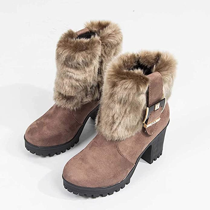 Amazon.com | OrchidAmor Womens Plush Boots Short Tube Thick with Buckle Warm Boot | Fashion Sneakers