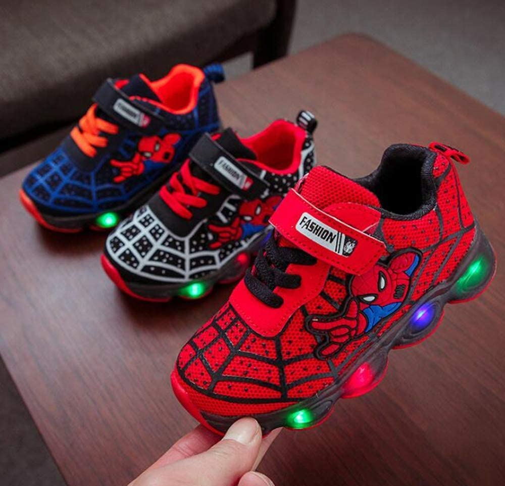 Bibi Space Wave Kids Superhero Light Up Boys Red//Blue Spider Trainers Size 5-13