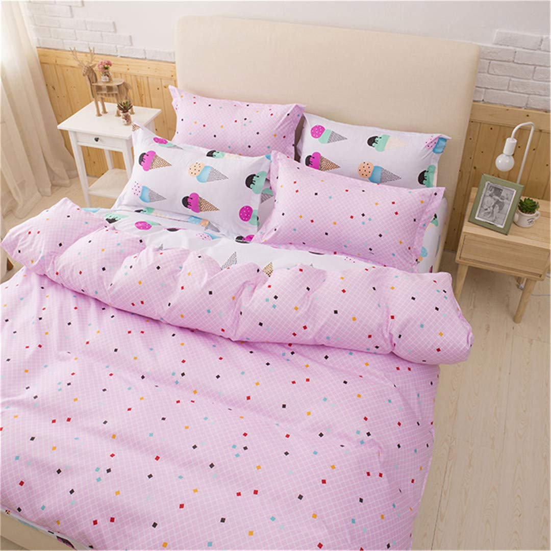 SHADEHAO Pretty Pink 3Pcs Bedding Sets for Girls Ice Cream Printed 4Pcs Duvet Cover Set Pillowcases Flat Sheet King Bed Linen Pink AU Double 180x210cm