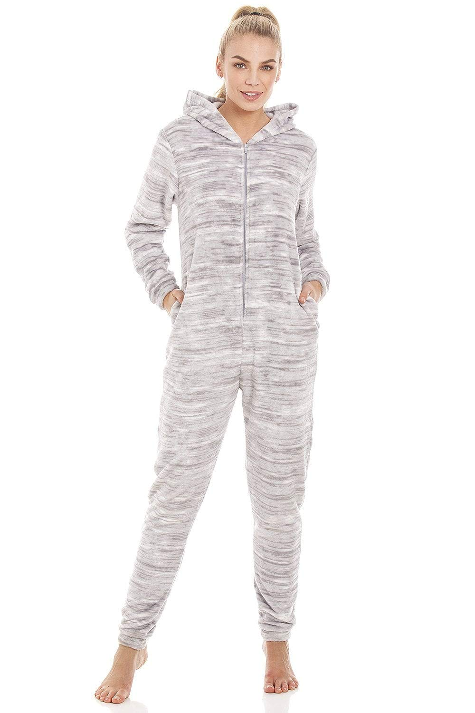 Camille Speckled Grey Supersoft Fleece Hooded Onesie