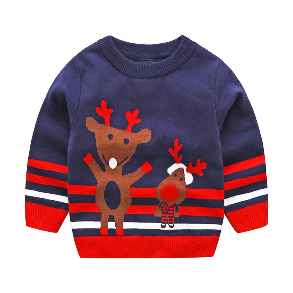 FEITONG Toddler Infant Baby Kids Girls Christmas Xmas Deer Knitted Tops Sweater Outfits