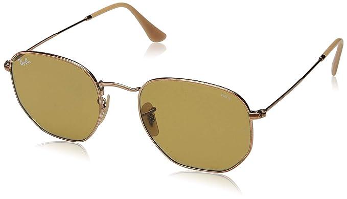 905840dd5 Amazon.com: Ray-Ban Men's Hexagonal Square Sunglasses COPPER 49.8 mm ...