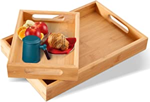 Serving Tray 2-Piece Set with Bamboo Serving Tray and Black Food Tray – Raised-Up Edges and Waterproof Finish – Heat-Insulated Wooden Tray – Modern and Elegant Wood Serving Tray 14.9 x 9.8in - Bamboo