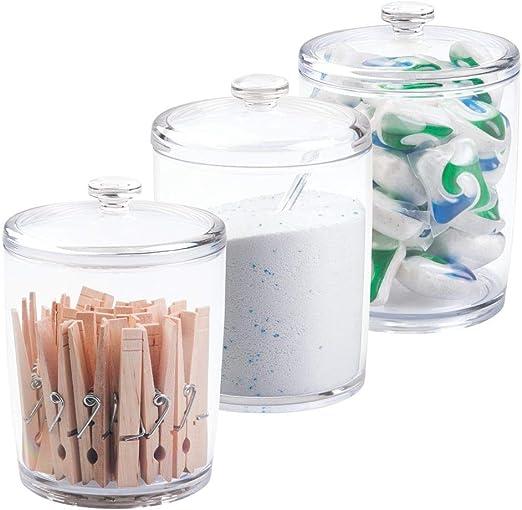 mDesign Set x 3 Cajas de almacenaje para lavadero - Caja organizadora para lavandería - Cesta almacenaje para jabón en Polvo, Pinzas para Ropa y más - Color: Transparente: Amazon.es: Hogar
