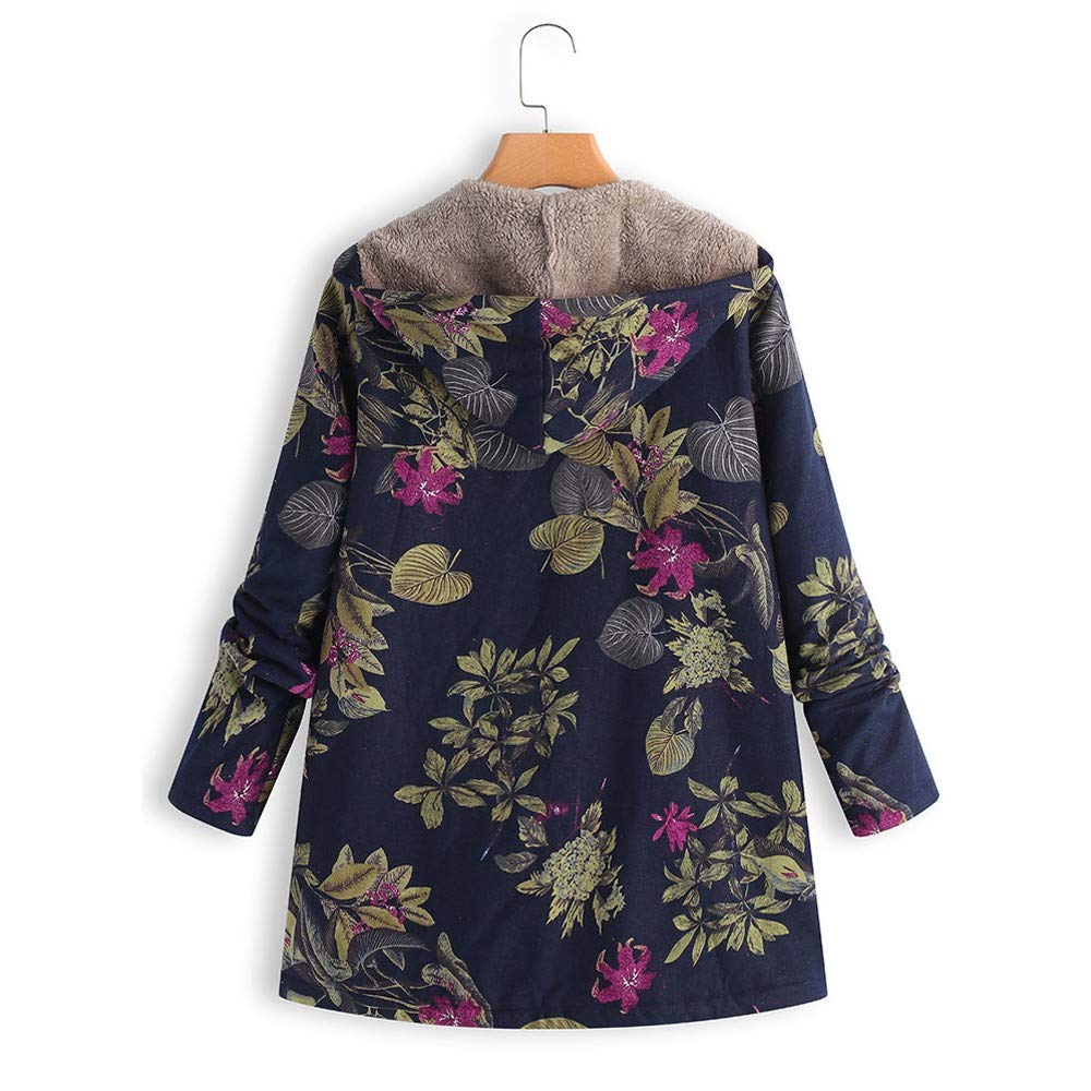 QIQIU Print Warm Winter Oversiz Outwear Vintage Outerwear Clearance ⭐️ Womens Floral Hooded Pockets Coat