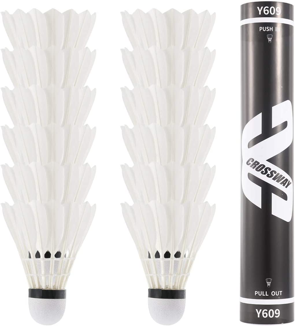 Number-one 12-Pack Badminton Shuttlecocks with Great Stability and Durability Duck Feather Shuttlecocks Outdoor Indoor Sports High Speed Training Badminton Birdie Balls Use for Kids Adults