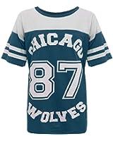 DAMEN OVERSIZE CHICAGO WOLVES 87 VARSITY BASEBALL T-SHIRT GR. 36-42 (UK 8-14)