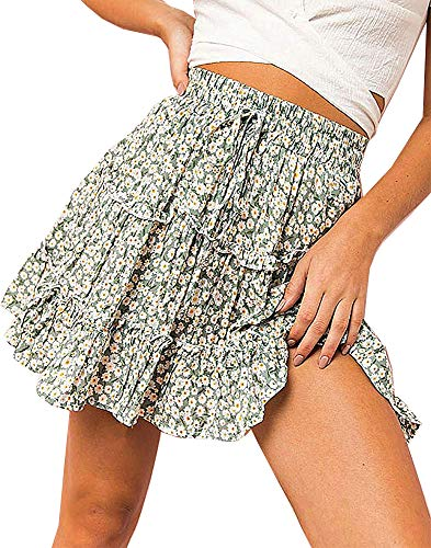 Amy Babe Women's Daisy Floral Print Ruffle Mini Skirt High Waist A line Skater Skirts with Drawstring
