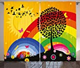 Ambesonne Rainbow Curtains, Silhouette of a Tree on Hill with Sun and Two Rainbows Spring Time Flowers, Living Room Bedroom Window Drapes 2 Panel Set, 108 W X 84 L Inches, Marigold Multicolor Review