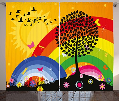 Ambesonne Rainbow Curtains, Silhouette of a Tree on Hill with Sun and Two Rainbows Spring Time Flowers, Living Room Bedroom Window Drapes 2 Panel Set, 108 W X 63 L Inches, Marigold Multicolor