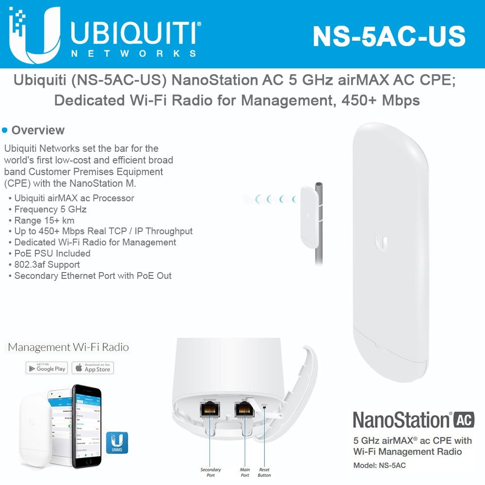 NanoStation AC NS-5AC-US 5GHz Airmax AC CPE; Dedicated Wi-Fi Radio for Management