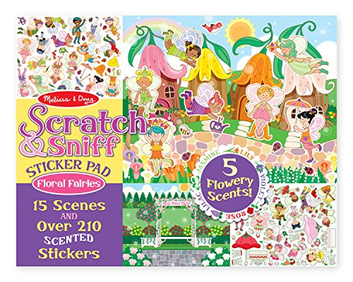 - Melissa & Doug Scratch and Sniff Sticker Pad: Floral Fairies - 210+ Scented Stickers