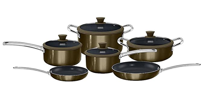 Amazon.com: Kenmore 10-pc. Ceramic Nonstick Cookware Set in Gunmetal Finish (Titanium Ceramic Coating, Induction Bottom): Kitchen & Dining