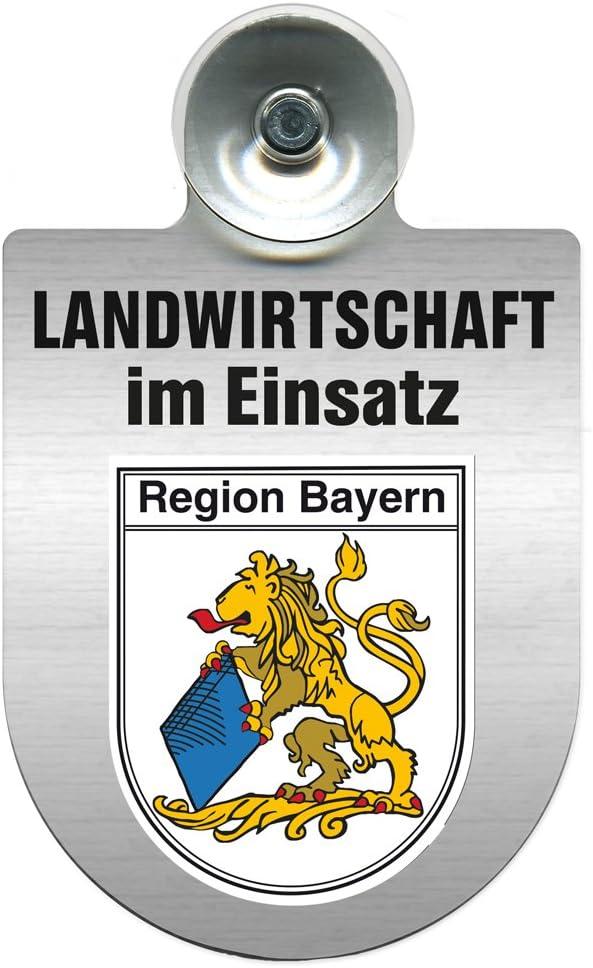 Wappen nach Wahl Saugnapf Landwirtschaft im Einsatz 309460 Farbe Region Saarland Einsatzschild f/ür Windschutzscheibe incl
