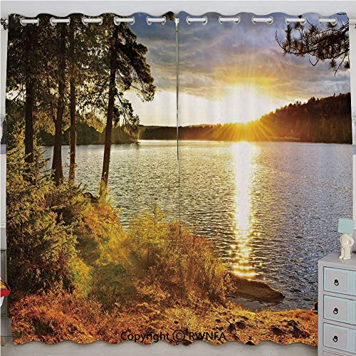 Justin Harve window Sunset Dawn in The Forest Over Lake of Two Rivers Algonquin Park Ontario Canada Custom Blackout Curtains Set of 2 Panels(100