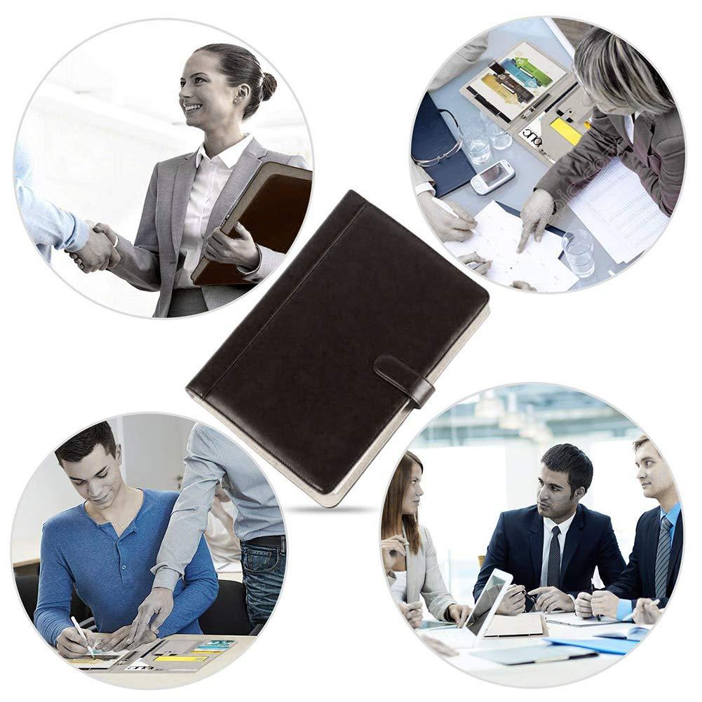 A4 Business Resume Portfolio Ledermappe mit Klemmbrett Dokumentenmappe mit B/üroklammer Kontrastnaht Schreibblock Magnetverschluss und Taschen Stiftehalter