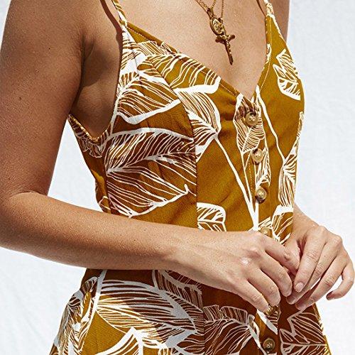 Mini Botón Verano de Cuello Vestido Rangeyes con Deslizamiento Corto Vestido de Sexy Partido Amarillo Backless V Vestidos Casual Mujer Playa Impresión Cóctel wPq8x