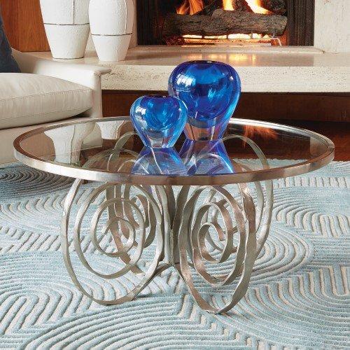 Global Views Luxe Silver Swirl Leg Metal Glass Coffee Table Round Twist Spiral Modern ()