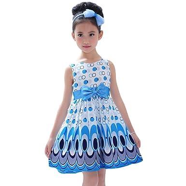 7a1ec8c9d Amazon.com  Rucan Kids Girls Summer Party Dress Bow Belt Sleeveless ...