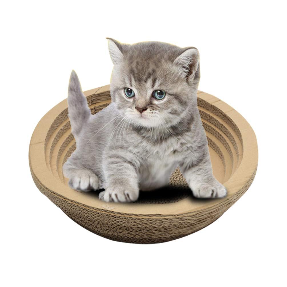 Jitong Planche à Gratter pour Chat Forme Ronde Griffoir en Carton Jouets pour Animaux Domestiques (Kaki, 44 * 44 * 12cm)