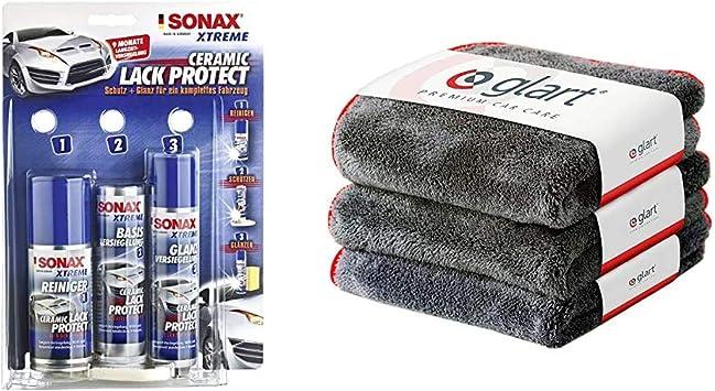 Sonax Xtreme Ceramic Lackprotect 240 Ml Widerstandsfähige 9 Monatige Keramikversiegelung Für Den Autolack Glanz Abperl Effekt Glart Premium Flausch 3er Set Mikrofasertücher 40 X 40 Cm Auto