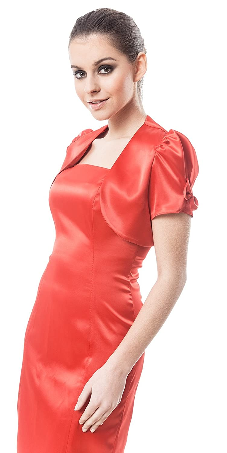 Evening party bow satin bolero shrug jacket stole short sleeve