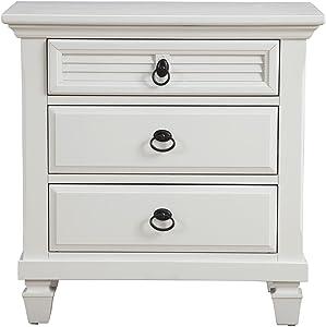 "Alpine Furniture 1306-W-NS Winchester Nightstand, 28"" W x 17"" D x 28"" H, White"