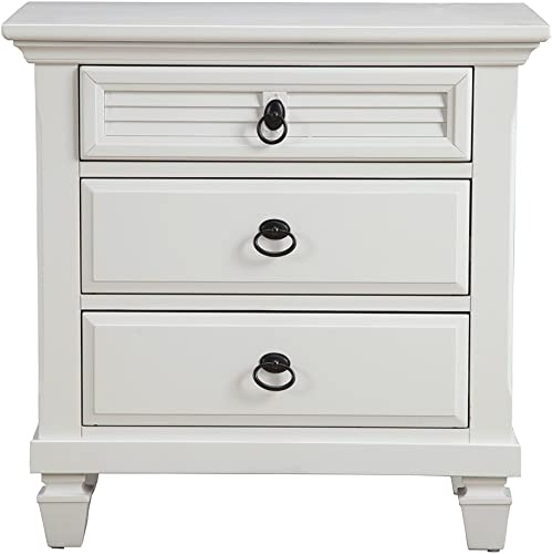 Alpine Furniture Winchester Nightstand, 28 W x 17 D x 28 H, White