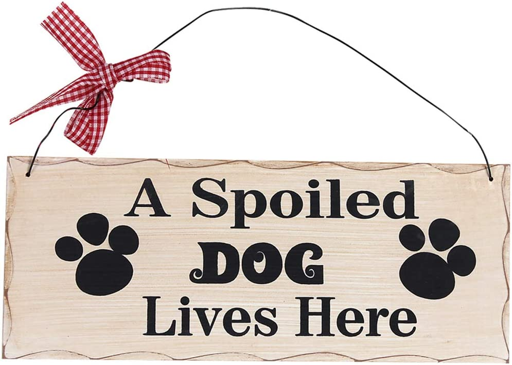 Wood Dog Sign Decor Dog Lover Sign, Hanging Pet Sign for Home Decor, Decorative Plaque Funny Dog Sign with Saying A Spoiled Dog Lives Here, Dog Wall Art Puppy Sign Dog Lover Gift 4X10in (Dog Sign)