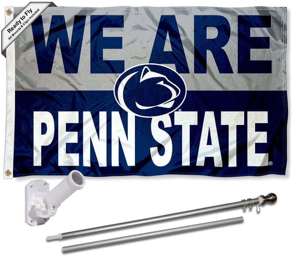 College Flags & Banners Co. Penn State Nittany Lions WE are Penn State Flag with Pole and Bracket Kit