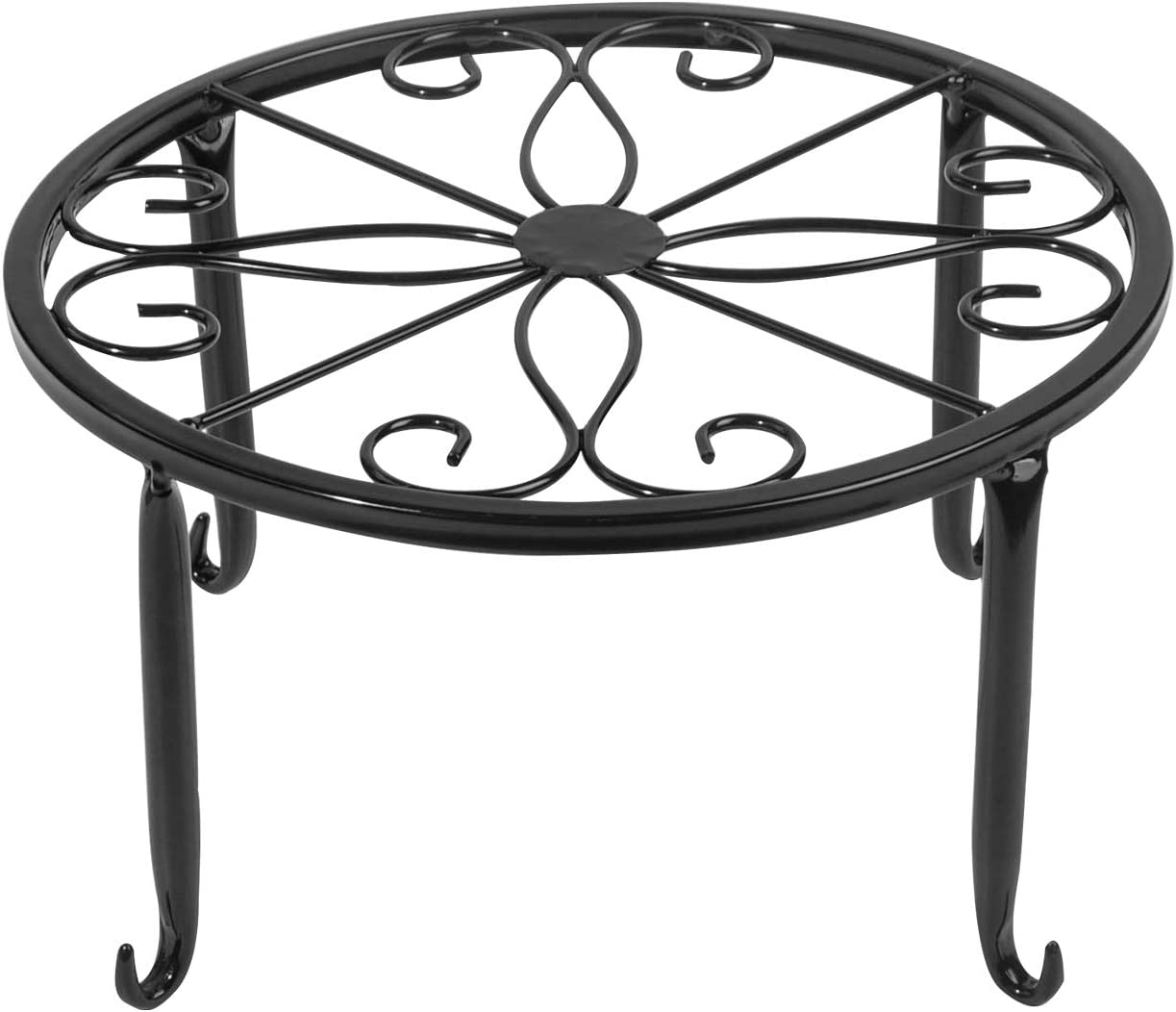 1 Pack Iron Black Antirust Plant Stand,Easy Movable and Stable Potted Holder for Indoor Outdoor Heavy Duty Container,Beverage Dispenser on Livingroom Floor,Balcony, Porch,Tabletop (1)