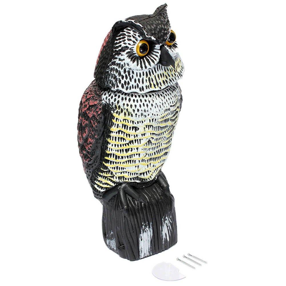 Crewell Fake Owl Decoy Rotating Head Bird Weed Pest Control Crow Scarecrow Garden Supplies Bird/Pigeon/Seagull/Crow Scarers